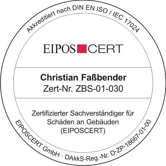 Zertifizierter Sachverständiger für Schäden an Gebäuden (EIPOSCERT) - durch die akkreditierte Zertifizierungsstelle EIPOSCERT gemäß DIN EN ISO/IEC 17024